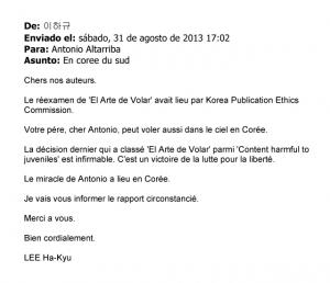Carta de LEE Ha-Kyu traductor de El arte de volar en Corea