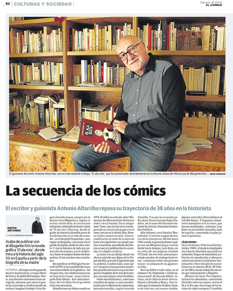 Reportaje de Natxo atuondo sobre Antonio Altarriba para El Correo