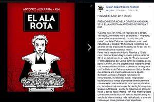 "Premios Splash 2017 Mejor novela gráfica nacional 2016: ""El ala rota"" de Antonio Altarriba y Kim"