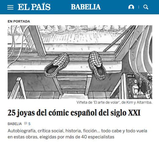 Salimos en portada de Babelia 3 de nuestras obras entre las 25 joyas del cómic español del siglo XXI