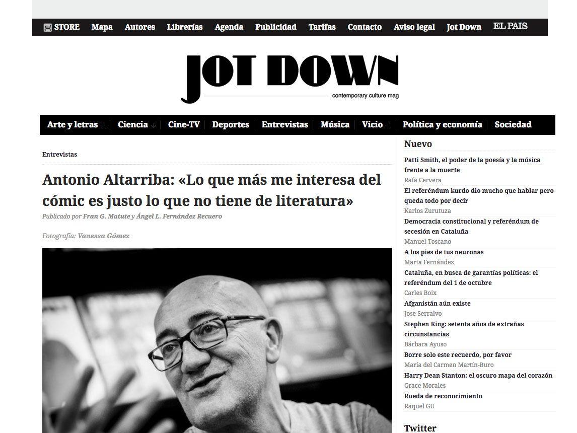 Entrevista con Antonio Altarriba en Jot Down: opiniones, trayectoria y su relación con los ilustradores