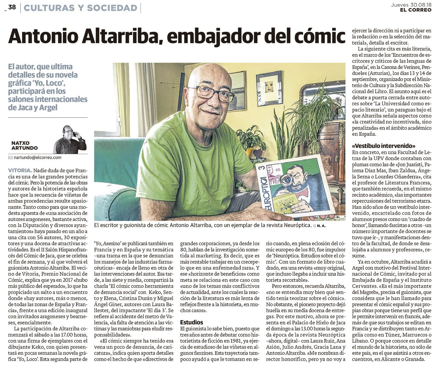 Antonio Altarriba, embajador del cómic