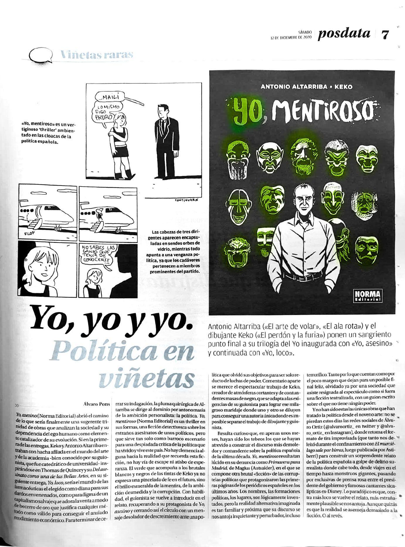 Artículo Yo, yo y yo: Política en viñetas
